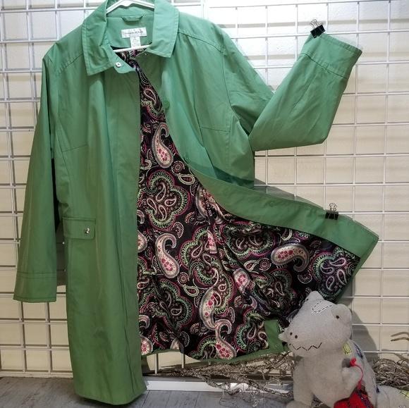 Preston & York Jackets & Blazers - Preston & York Green Trenchcoat w/Paisley Liner XL